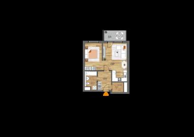 Byt 1+kk, 3. podlaží, balkón