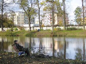 Rybář u zámeckého rybníka