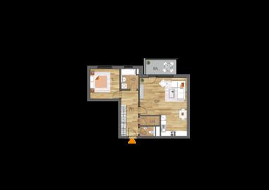 Byt 2+kk, 1. podlaží, balkón
