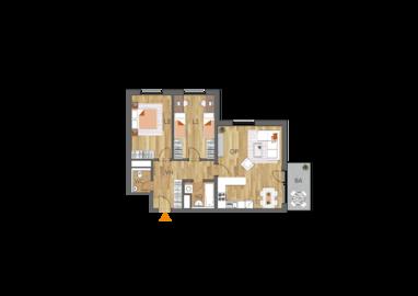 Byt 3+kk, 4. podlaží, balkón