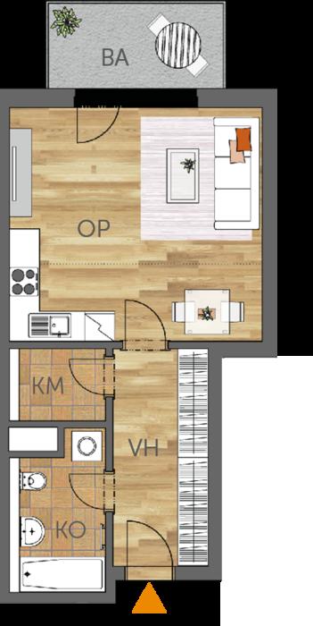 Byt 1+kk, 2. podlaží, balkón