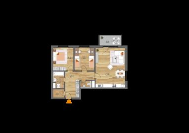 Byt 3+kk, 1. podlaží, balkón