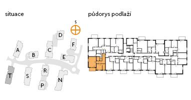 Byt 2+kk, 2. podlaží, balkón