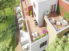 Pohled na terasy v bytovém domě Narcis