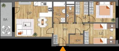 Byt 3+kk, 2. podlaží, balkón
